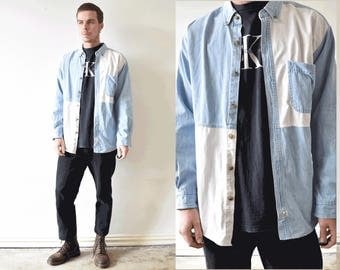 Vintage Colour Block XL Long Sleeve Denim Shirt/ Vintage 90s Mens Shirt