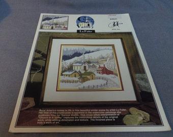 Counted Cross Stitch Pattern, Church In A Valley, Lu Fuller, Rural America, Winter Scene, Church