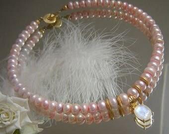 Vegoldet necklace - Pink Pearl Necklace - 10 mm - Moonstone - 925 Silver