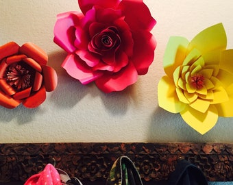 Trio of colorful paper flowers