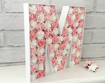 Nursery decor name sign, Wooden floral letter, Large flower letters, Goddaughter gift, Floral nursery letters, Wedding name sign, Mr and Mrs