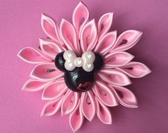 Pink Kanzashi Minnie Mouse Flower