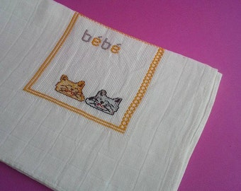 Baby boy/girl burp cloth, 100%Cotton, Traditional Portuguese Diaper, Shower Gift, needlework, stroller blanket, colourful cats,Bath and Beau