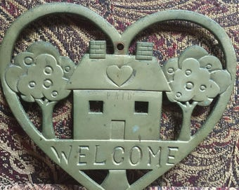 Welcome Heart Brass Trivet