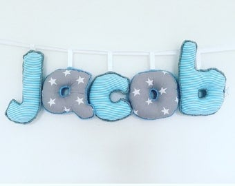 Personalized blue and grey name sign,name banner,name bunting,nursery decor,bedroom decor,nursery wall hanging,gifts for kids,new baby gift
