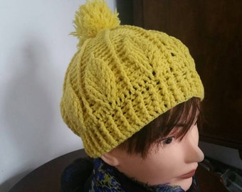 Hand Knit  Hat Wool And Acrylic With Pom Pom In Yellow