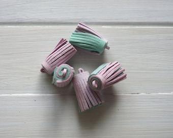 Tassel Pendant - Velvet, Light Purple and Light Green 3.5 cm