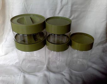 Pyrex Canister set Store N See , Green, Stacking Canister Set