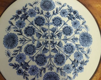 Vintage Midcentury Solid Wood Lazy Susan Serving Tray Blue Floral Tile Country