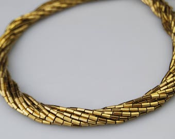 Gold Plated Hematite Smooth Cylinder Loose Beads Size 2x4mm 15.5'' Long Per Strand.I-HEM-0108