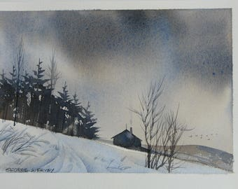 Winter Cottage Painting Landscape Artwork In The Woods Snowstorm
