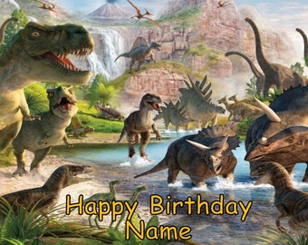 Dinosaurs T Rex Edible Image Cake Topper Personalized Birthday 1/4 Sheet