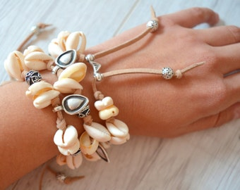 Cowrie Shell Bracelet with silver coin charms, Armcandy, Boho Bohemian Gypsy Stacking Bracelet, Ibiza Summer Free People Style Bracelet