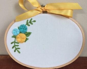 Personalized Floral Hoop Art