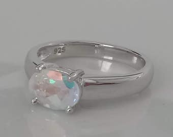 1.5 cts Natural Mercury Mist Topaz Sterling Silver Ring