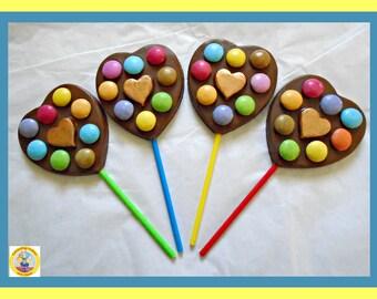Kids Chocolate Lollipops/Kids Wedding Favour/Girls/Boys/Children/Love Heart Lollipop/Kids Birthday/Kids Party Favour/Fun Lollipop/Smarties