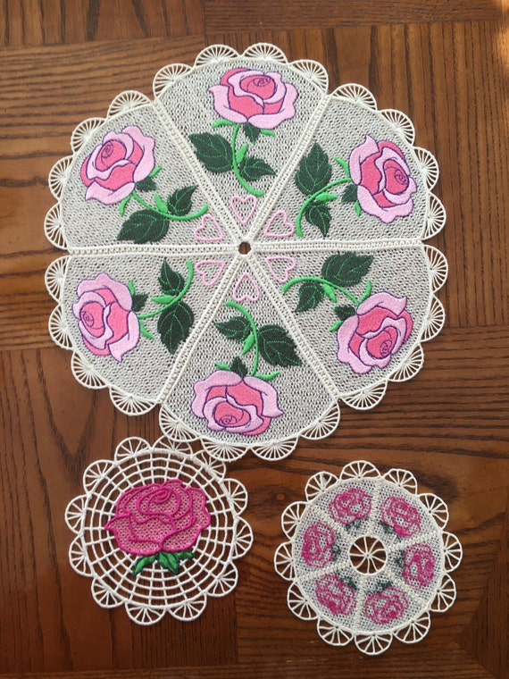 Rose Fsl Rose Doily 3 Free Standing Lace Doily