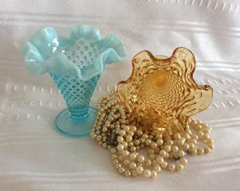 Vintage Fenton vase blue opalescent amber hobnail novelties