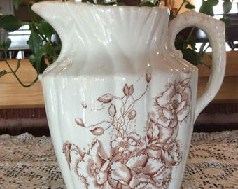 Antique ironstone pitcher earthenware wash set small water jug England