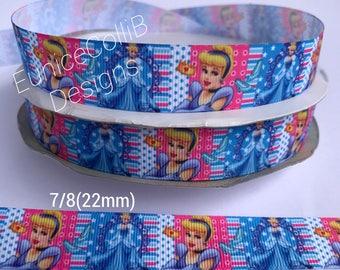 """7/8""""Princess Cinderella inspired grosgrain ribbon"""