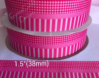 "1.5"" bright pink grosgrain ribbon"