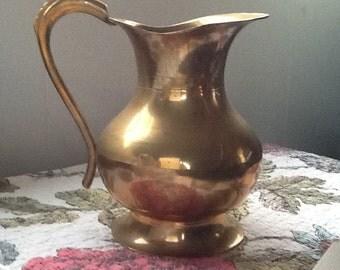 Brass Pitcher, Medium MCM Brass Vase, 70's Retro Pitcher - Mid Century