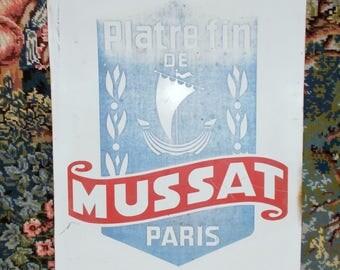 Vintage French Aluminium Business Sign. Fine Plaster PARIS  //  Platre fin de Musset PARIS \\  Viking Boat Logo,