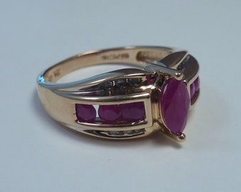 14K Yellow Gold Ruby and Diamond Ring, 3.8 grams, size 6