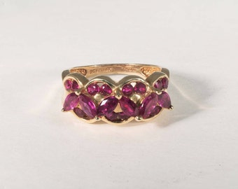 14K Yellow Gold Ruby Cluster Ring, 4.1 grams, size 5.25