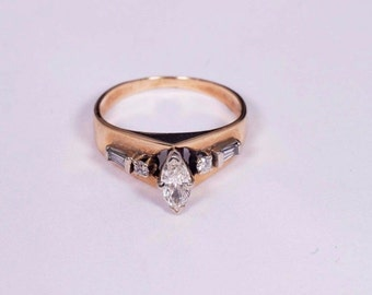 14K Yellow Gold Marquise Cut Diamond Ring 1/2 ct. tw., Size 4.75