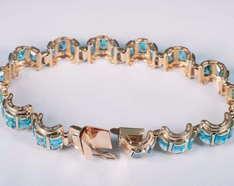 "14K Yellow Gold Blue Topaz Rectangular Stone Bracelet, 7"" Long"