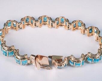 """14K Yellow Gold Blue Topaz Rectangular Stone Bracelet, 7"""" Long"""