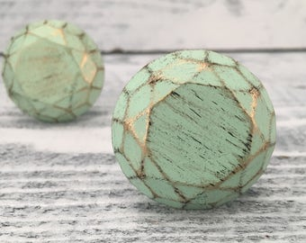 Drawer Knob, Honeycomb Pattern Round Farmhouse Mint Green Knobs, French Country Look Cabinet Pulls, Shabby Chic Drawer Pull, Item #509528168