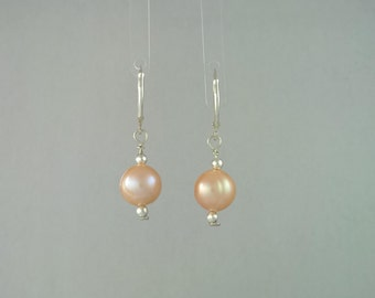 Peach Coloured Cultured Potato Pearl Sterling Silver Drop Earrings