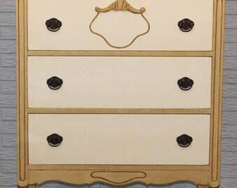 Vintage Cream & Gold Dresser