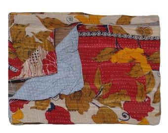 Vintage Sari  Bedspread,Ethnic Floral Design,Twin Size Reversible Quilt , Vintage Kantha Quilt  , Throw Quilt Wall Hanging #1003