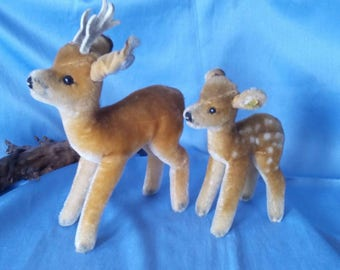 Sweet couple of Vintage Steiff roebock and fawn, 22 cm, good condition