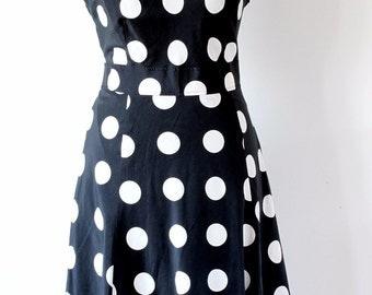LAURA ASHLEY Silk Cotton Mixed Dress,  Black and White Polka Dot Dress, Black and White Summer Dress, Mid Length Summer Dress,  UK Size 16