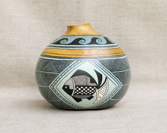 Southwestern Hand Painted Gourd Pot Fish Waves Geometric Design Southwest Pottery - Inspired #164