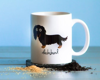 Dachshund Mug (longhaired - black and tan)