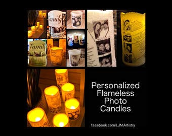 Personalized Flameless Photo Candles (Wedding Day, Anniversary, Birthday, Holidays, Memorial Services, etc.)