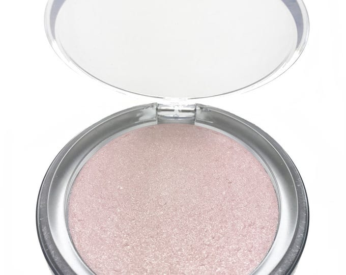 Pressed Champagne Pink Highlighter-Vegan Highlighter-Organic Pressed Highlighter-57 mm Too Lit to Quit! Highlighter, organic luminizer