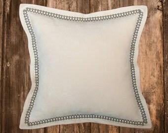 White Pillow Cover - Velvet Throw Pillow Cover - White Throw Pillow -Velvet Pillow with Trim - Flange Pillow Cover- Embellished Pillow Cover