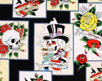 Roses Skulls Dice Edhardy Fabric by Quilting Treasures by the Half Yard