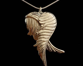 Silver Heart and Wing Amulet Pendant