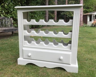 Hand Painted solid pine wine rack and drawer unit
