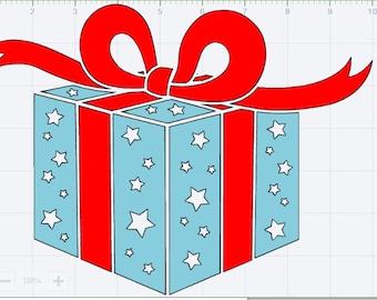 Christmas Present SVG EPS DXF pdf Studio 3 Cut File