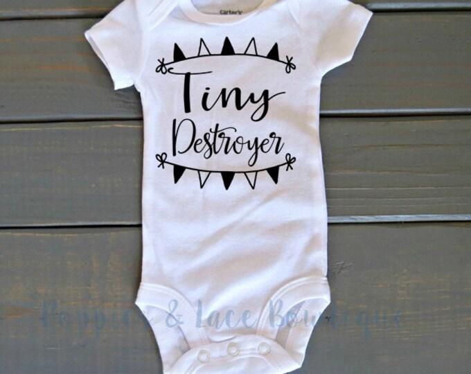 Tiny Destroyer Bodysuit, Unisex Kids' Clothing, Funny Kids' Shirt, Baby Shower Gift