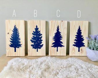 Wood Wall Art, Tree Series, Tree Paintings, Set of 4, Spruce Tree, Pine Tree, Navy Wall Decor, Home Decor, Nature Painting, Wooden Sign, Art