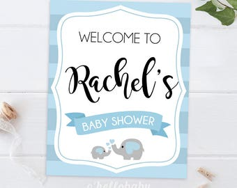 Personalized Welcome To Baby Shower Sign - Baby Elephant Baby Shower Party - Team Blue Baby Shower - 001